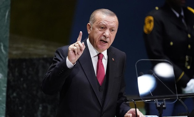 FILE PHOTO: Turkey's President Recep Tayyip Erdogan addresses the 74th session of the United Nations General Assembly at U.N. headquarters in New York City, New York, U.S., September 24, 2019. REUTERS/Carlo Allegri
