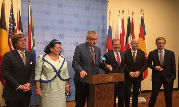 Deputy Permanent Representative of Germany to the United Nations  Jürgen Schulz speaks following a closed door meeting on Syria- Egypt Today/ Engy Madgy