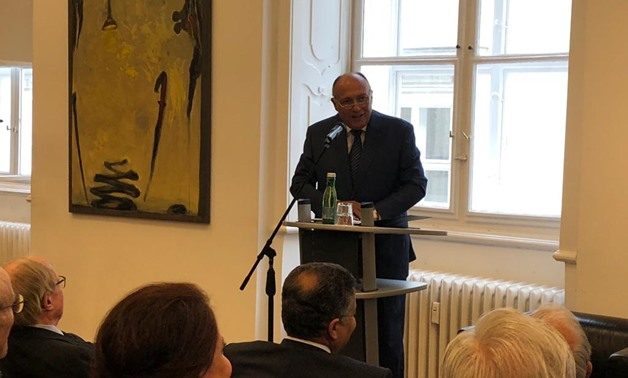 "Shoukry was delivering a speech on Monday during a lecture titled ""Foreign Policy of Egypt"" at the Foreign Policy and United Nations Association of Austria (UNA-Austria)- press photo"