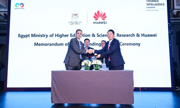Vincent Sun, CEO of Huawei Egypt, Dr. Mohamed El Tayeb, Assistant Minister of Higher Education, signed a Memorandum of Understanding (MOU) on strategic cooperation in information and communication technology (ICT).