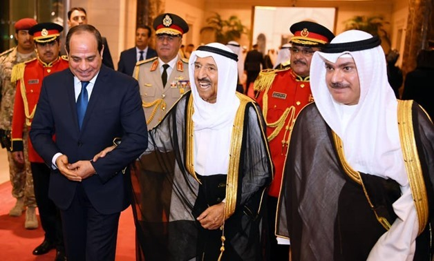 PRESS: (L) Egyptian President Abdel Fattah al-Sisi in Kuwait in September 2019, with (C) Sheikh Sabah Al-Jaber who affirmed his kingdom's appreciation to Egypt's leadership and people