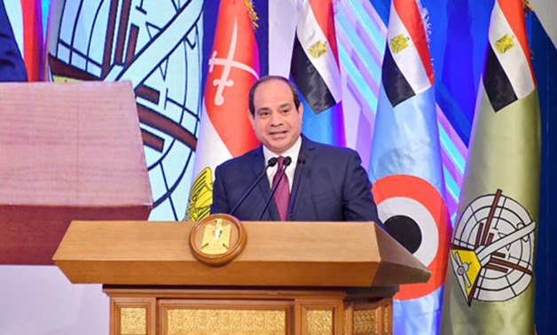 FILE - President Abdel Fattah El Sisi gives a speech at the graduation ceremony of first batch of medicine factulty of the Armed Forces- Press photo
