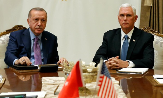 Vice President Mike Pence with Turkish President Tayyip Erdogan, Oct. 17, 2019 - Reuters