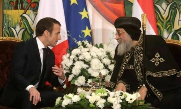 gypt's Coptic Orthodox Pope Tawadros II (R) meets with French President Emmanuel Macron at the Coptic Church headquarters in Cairo AFP