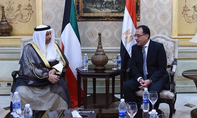 Egypt's Prime Minister Mostafa Madbouly (R) receives his Kuwaiti counterpart, Sheikh Jaber Al-Mubarak on Sunday, October 20th - Press photo