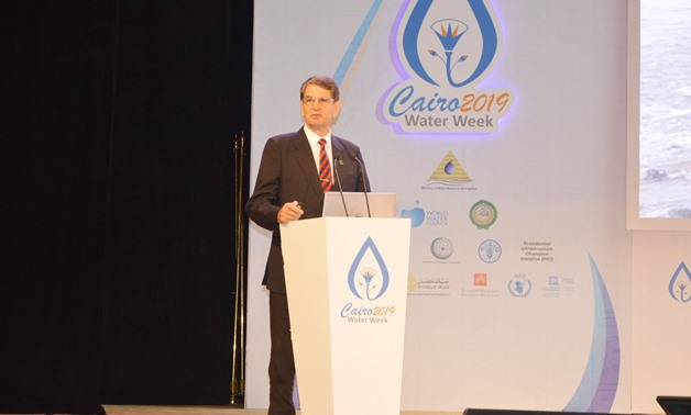 Chairperson of the International Committee on Irrigation and Drainage (ICID) Felix Reinders gives a speech at the second edition of the Cairo Water Week Forum 2019- press photo