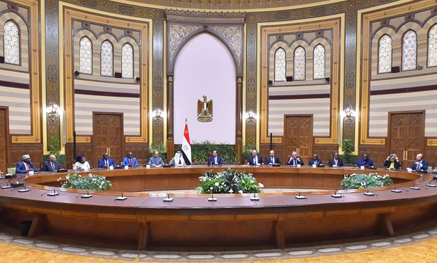 President Abdel Fatah al-Sisi meets with the representatives of delegations participating in the second edition of Cairo Water Week 2019 -  Press photo