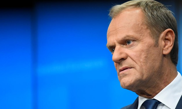 FILE PHOTO: European Council President Donald Tusk looks on during a joint news conference with European Commission President Jean-Claude Juncker at the end of the European Union leaders summit dominated by Brexit, in Brussels, Belgium October 18, 2019. R