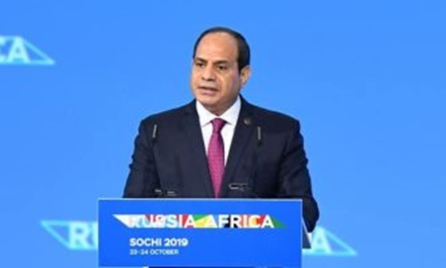 President Abdel Fatah al-Sisi during his speech at the African summit in Russia on Wednesday October 23