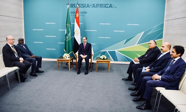 President Abdel Fattah al-Sisi on Wednesday met with Chairperson of African Union Commission Moussa Faki – Press photo