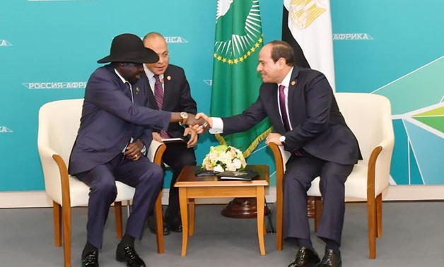 South Sudan's President Salva Kiir meets with President Abdel Fattah al-Sisi on the sidelines of the Russia-Africa Forum in Sochi – Press photo