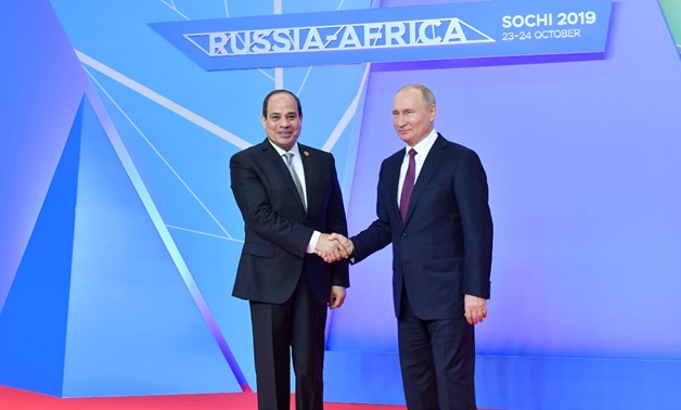 Egyptian President Abdel Fattah al-Sisi on Wednesday evening attended a dinner hosted by Russian President Vladimir Putin in Sochi, Russia - Press photo
