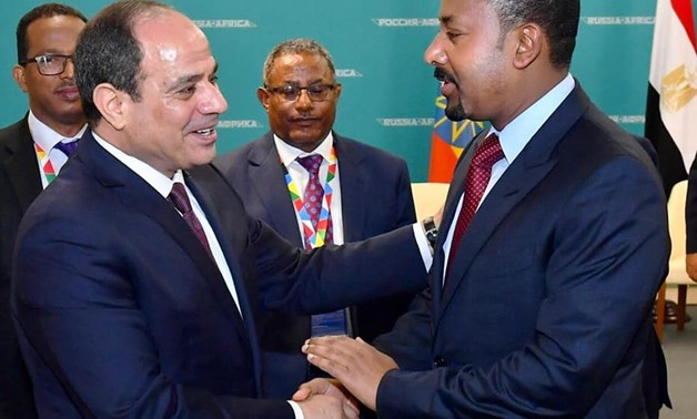 President Abdel Fattah Al-Sisi meets with Ethiopian Prime Minister Abiy Ahmed on the sidelines of the Russia-Africa Forum in Sochi, Russia held from October 23-24 - Courtesy of the Egyptian Presidency