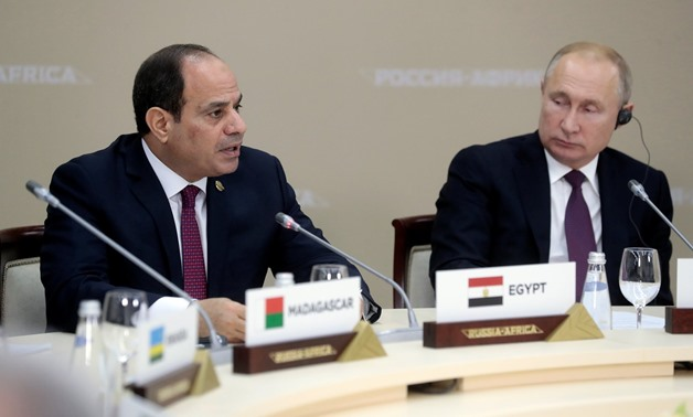 President Abdel Fatah al-Sisi with his Russian counterpart Vladimir Putin in the Africa-Russian summit held in Sochi - Reuters