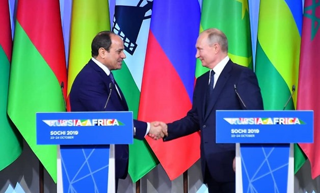 During his meeting with Russian President Vladimir Putin, Sisi affirmed his keenness to deepen the partnership relations between the two countries - Courtesy of the Egyptian Presidency
