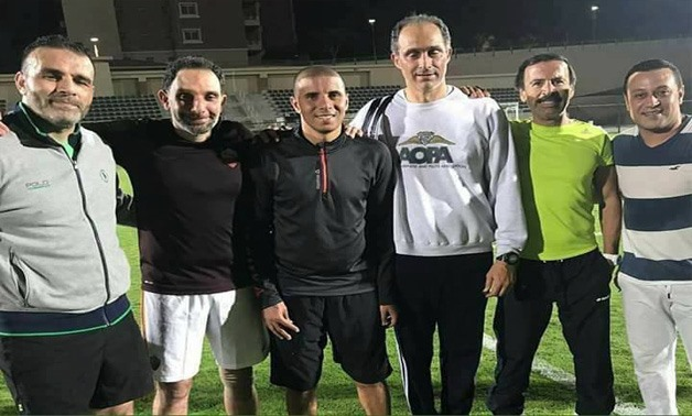 Gamal Mubarak with retired footballer Mohamed Zidan (in the middle) – Facebook photo