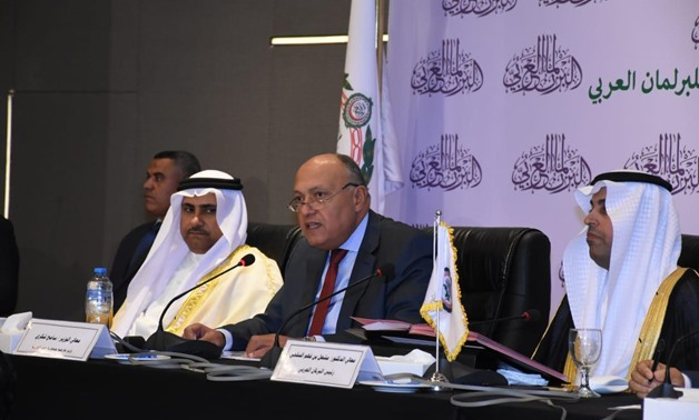 Egyptian Minister of Foreign Affairs Sameh Shoukry speaks at the Arab Parliament's first session of the second legislative term that kicked off in Cairo on Thursday- press photo.