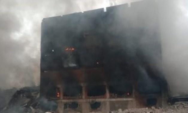Civil defense forces in Qalyubiya controlled a fire that broke out in a motorbikes factory at 5 pm on Monday - Press Photo