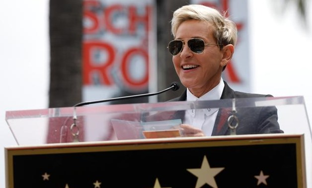 FILE PHOTO: Ellen Degeneres speaks during the ceremony for the unveiling of the star for American boy band *NSYNC on the Hollywood Walk of Fame in Los Angeles, U.S. April 30, 2018. REUTERS/Mario Anzuoni/File Photo.