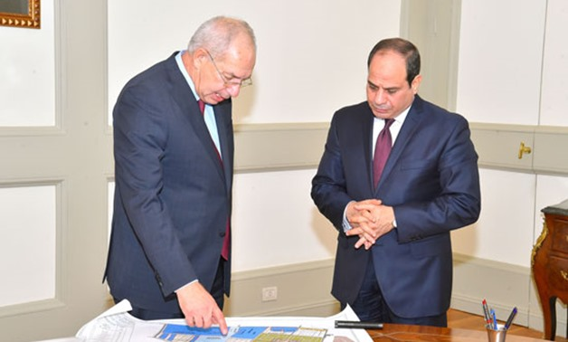 Meeting with Mohamed Zaki, head of the Authority, Sisi highlighted the necessity of state institutions' concerted efforts to make the projects being implemented in the Authority operate with the highest efficiency - Press photo