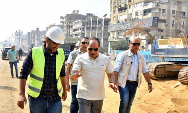 President Abdel Fatah El Sisi inspected the construction works of a group of national bridges and roads in Heliopolis- press pho