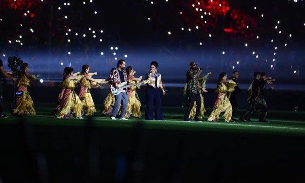 File - Nesma Mahgoub singing at the Africa U-23 Cup of Nations opening ceremony.