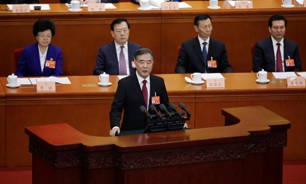 Wang Yang, chairman of the National Committee of the Chinese People's Political Consultative Conference (CPPCC), speaks at the opening session of the CPPCC at the Great Hall of the People in Beijing, China March 3, 2019. REUTERS/Jason Lee