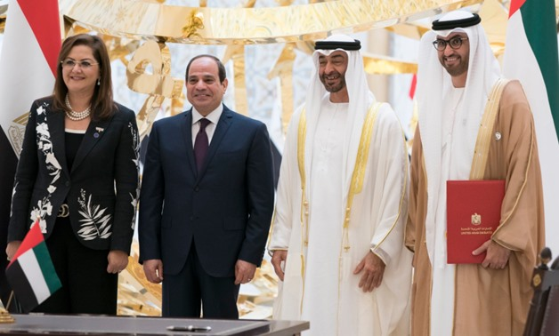 Sisi has arrived in the UAE for a two-day visit starting Wednesday, and was received by Sheikh Mohamed bin Zayed, Abu Dhabi crown prince - Courtesy of Mohamed bin Zayed's Twitter account