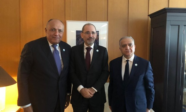 Egyptian Foreign Minister Sameh Shoukry and his Jordanian and Iraqi counterparts Ayman Safadi and Mohammed Ali Al-Hakim held a meeting on Thursday in Washington- photo courtesy of Jordanian Foreign Minister Ayman Safadi's Twitter account.