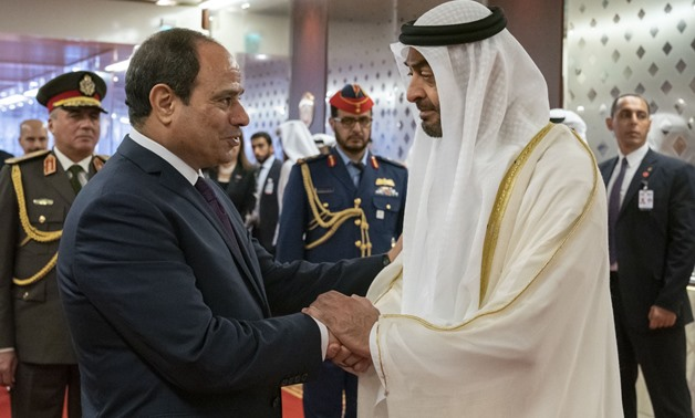 President Abdel Fatah El Sisi and Abu Dhabi Crown Prince Sheikh Mohammed bin Zayed Al Nahyan- photo courtesy of Bin Zayed's Twitter account