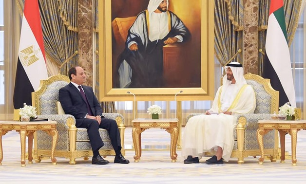 President Abdel Fattah El-Sisi on Thursday concluded his two-day visit to the United Arab Emirates, where he met with Abu Dhabi Crown Prince Mohamed bin Zayed - Press photo