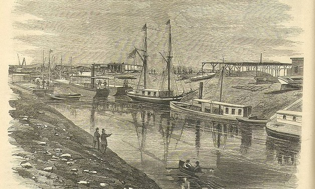Drawing of first vessels passing through the Canal showing al-Qantara on the East and El Ferdan on the West