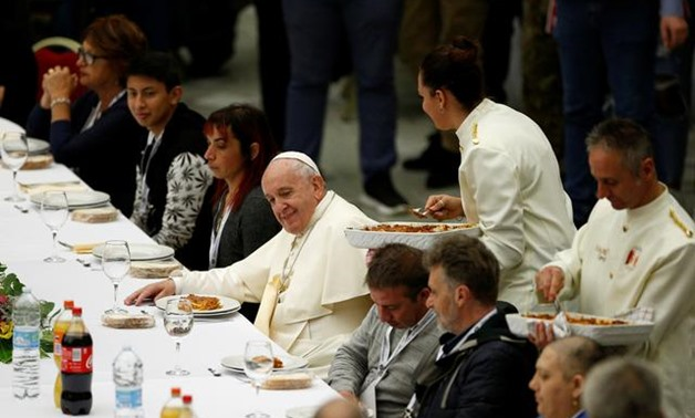 Pope Francis attends a lunch with the poor after celebrating a Mass marking the Roman Catholic Church's World Day of the Poor, in Paul VI Hall at the Vatican, November 17, 2019. REUTERS/Guglielmo Mangiapane