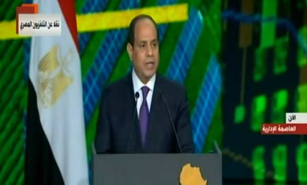 Egypt's President Abdel Fatah al Sisi during his opening speech at Egypt's Africa 2019 Conference