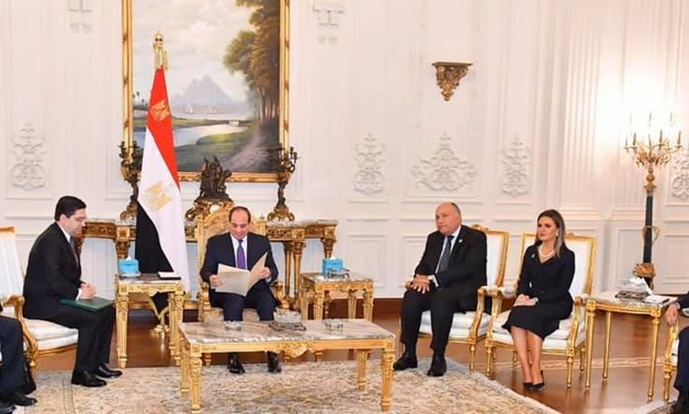 President Abdel Fatah al-Sisi in a meeting with Moroccan Minister of Foreign Affairs Nasser Bourita on the sidelines of Africa 2019 conference held in the New Administrative Capital (NAC). November 22, 2019. Press Photo