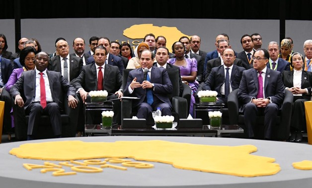 President Abdel Fatah El Sisi speaks during a round-table held on the investments in Africa on the sidelines of the Africa 2019 Conference at the New Administrative Capital- Egypt Today/Hossam Atef.