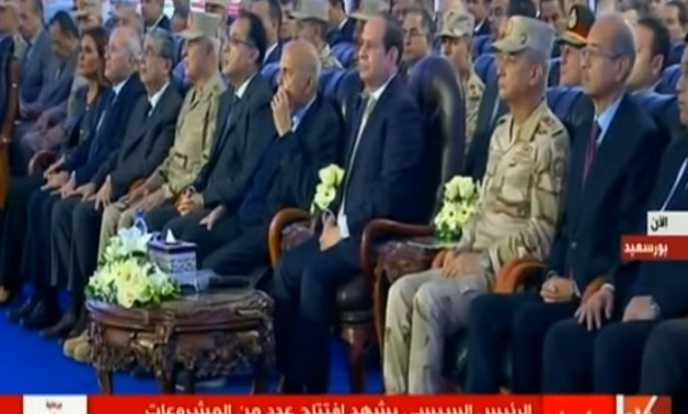 President Abdel Fatah al-Sisi attending the inauguration ceremony of a number of projects in Port Said - TV Screenshot