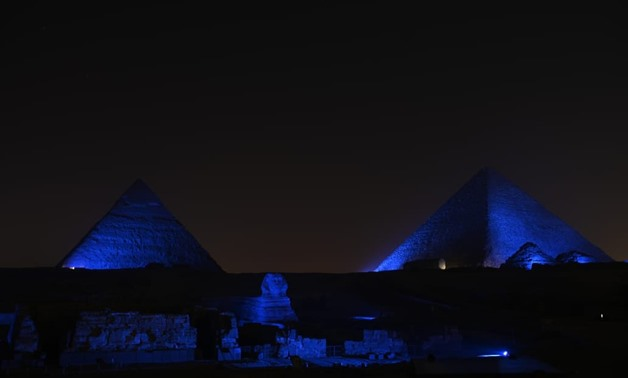 The Great Pyramid of Giza was lightened in blue during a celebration of the 30th anniversary of the endorsement of the UN Convention on the Rights of the Child