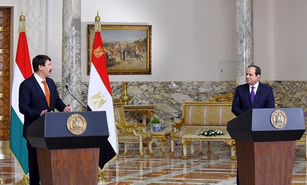 Egypt's President Abdel Fattah al-Sisi meets with his Hungarian counterpart, Janos Ader – Press photo