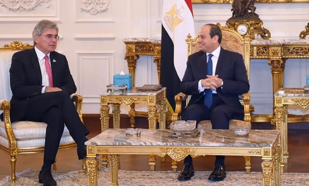 FILE - Sisi meets with Siemens CEO Joe Kaeser on the sidelines of the Investment for Africa Forum in the New Administrative Capital - Press photo