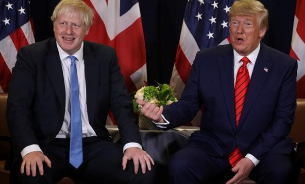 FILE PHOTO: U.S. President Donald Trump holds a bilateral meeting with British Prime Minister Boris Johnson (L) on the sidelines of the annual United Nations General Assembly in New York City, New York, U.S., September 24, 2019. REUTERS/Jonathan Ernst/Fil