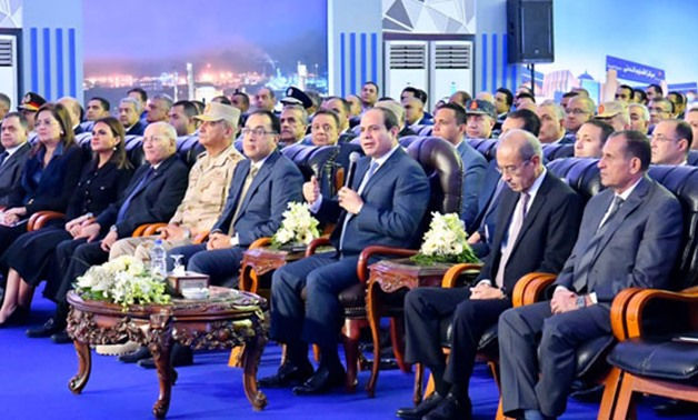 President Abdel Fatah al-Sisi speaking in the inauguration of 10 projects in Damietta on December 3, 2019. Press Photo