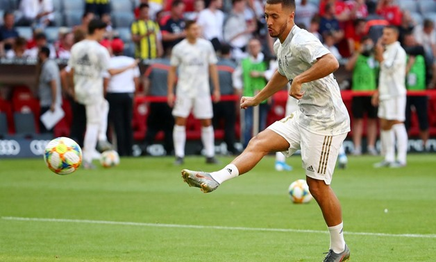 FILE PHOTO: Soccer Football - Audi Cup - Real Madrid v Tottenham Hotspur - Allianz Arena, Munich, Germany - July 30, 2019 Real Madrid's Eden Hazard during the warm up before the match REUTERS/Michael Dalder