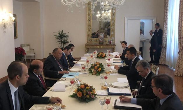 Egypt's Foreign Minister Sameh Shoukry discussed on Thursday the latest updates regarding Libya's political conflict with his Italian counterpart Italian Foreign Minister Luigi Di Maio in Rome - Press Photo