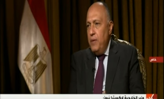 Foreign Minister Sameh Shoukry during his interview with Sky news channel on Friday December 6. - Screen shot from Sky news channel