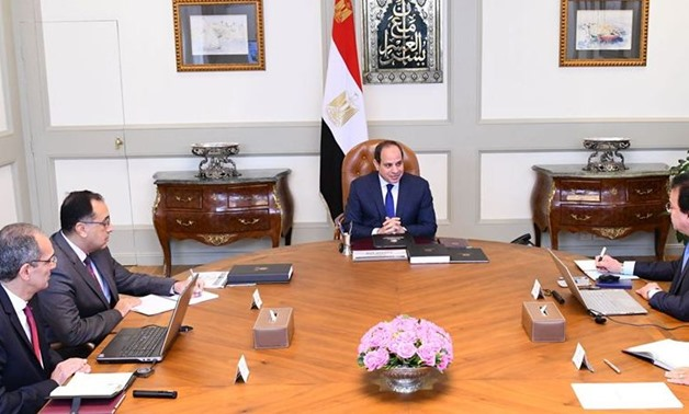 Sisi meets with Prime Minister Mostafa Madbouli, Minister of Higher Education and Scientific Research Khaled Abdel Ghaffar, and Communications Minister Amr Talaat - Courtesy of the Presidency
