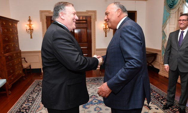 FILE- US Secretary of State Mike Pompeo (L) and Egyptian Foreign Minister Sameh Shoukry (R) - Source: US embassy in Egypt
