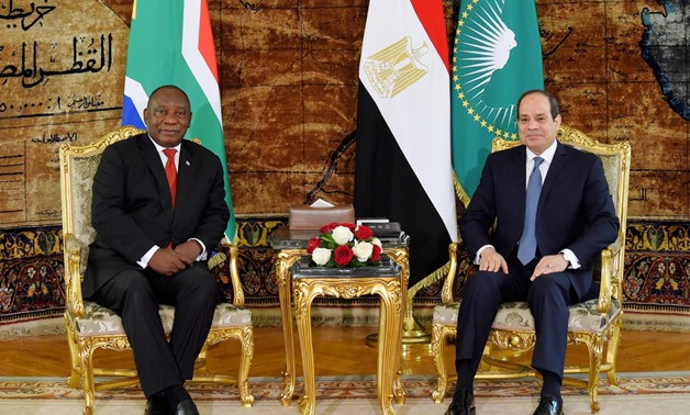 President Abdel Fatah al-Sisi received his South African counterpart Cyril Ramaphosa in Ittihadiya presidential palace. December 12, 2019. Press Photo
