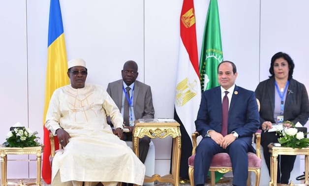 President Abdel Fattah el-Sisi on Wednesday said Egypt is ready to enhance bilateral cooperation with Chad during his meeting with Chadian President Idriss Deby - Courtesy of the Presidency