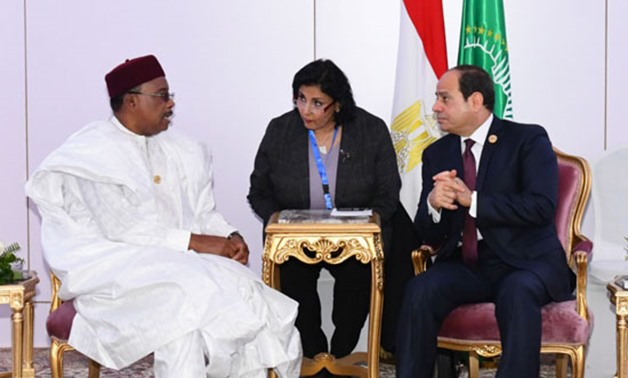 Niger's President Mahamadou Issoufou on Wednesday met with President Abdel Fattah el-Sisi on the sidelines of the Aswan Forum - Courtesy of the Egyptian Presidency